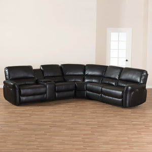 Baxton Studio Amaris Modern and Contemporary Black Bonded Leather 5-Piece Power Reclining Sectional Sofa with USB Ports Baxton Studio-sofas-Minimal And Modern - 3
