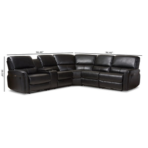 Baxton Studio Amaris Modern and Contemporary Black Bonded Leather 5-Piece Power Reclining Sectional Sofa with USB Ports Baxton Studio-sofas-Minimal And Modern - 4