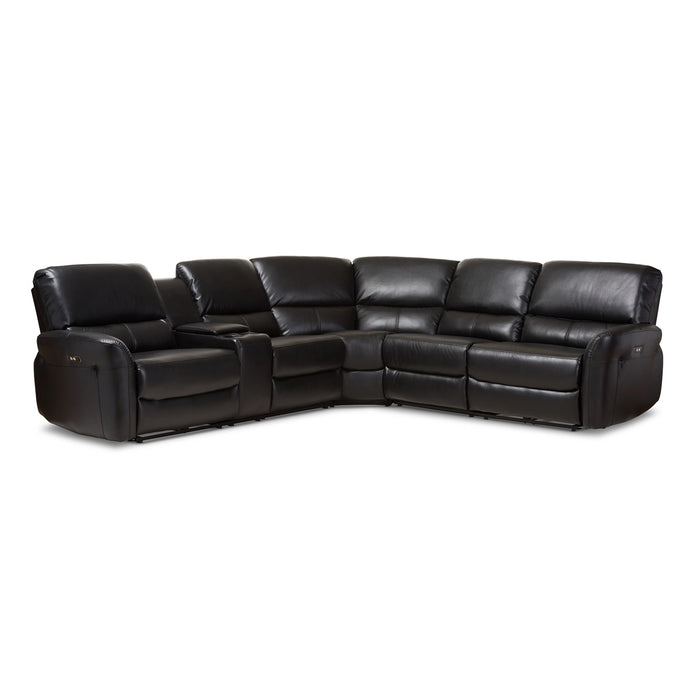 Baxton Studio Amaris Modern and Contemporary Black Bonded Leather 5-Piece Power Reclining Sectional Sofa with USB Ports Baxton Studio-sofas-Minimal And Modern - 1