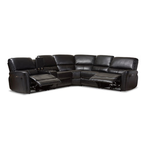 Baxton Studio Amaris Modern and Contemporary Black Bonded Leather 5-Piece Power Reclining Sectional Sofa with USB Ports Baxton Studio-sofas-Minimal And Modern - 5