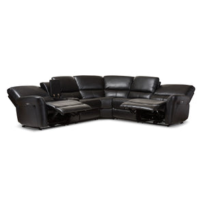 Baxton Studio Amaris Modern and Contemporary Black Bonded Leather 5-Piece Power Reclining Sectional Sofa with USB Ports Baxton Studio-sofas-Minimal And Modern - 6