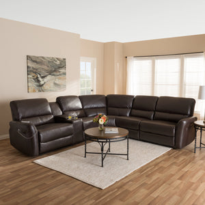 Baxton Studio Amaris Modern and Contemporary Dark Brown Bonded Leather 5-Piece Power Reclining Sectional Sofa with USB Ports Baxton Studio-sofas-Minimal And Modern - 2