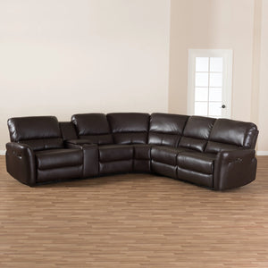 Baxton Studio Amaris Modern and Contemporary Dark Brown Bonded Leather 5-Piece Power Reclining Sectional Sofa with USB Ports Baxton Studio-sofas-Minimal And Modern - 3
