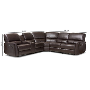 Baxton Studio Amaris Modern and Contemporary Dark Brown Bonded Leather 5-Piece Power Reclining Sectional Sofa with USB Ports Baxton Studio-sofas-Minimal And Modern - 4