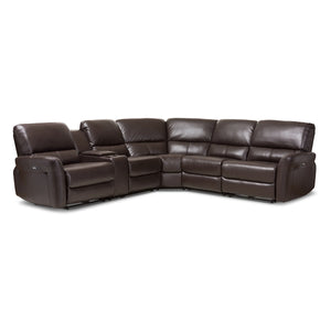 Baxton Studio Amaris Modern and Contemporary Dark Brown Bonded Leather 5-Piece Power Reclining Sectional Sofa with USB Ports Baxton Studio-sofas-Minimal And Modern - 1