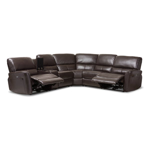 Baxton Studio Amaris Modern and Contemporary Dark Brown Bonded Leather 5-Piece Power Reclining Sectional Sofa with USB Ports Baxton Studio-sofas-Minimal And Modern - 5