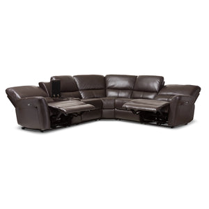 Baxton Studio Amaris Modern and Contemporary Dark Brown Bonded Leather 5-Piece Power Reclining Sectional Sofa with USB Ports Baxton Studio-sofas-Minimal And Modern - 6