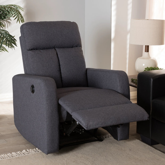 Baxton Studio Garland Modern And Contemporary Grey Fabric Power Recliner Armchair Baxton Studio--Minimal And Modern - 1