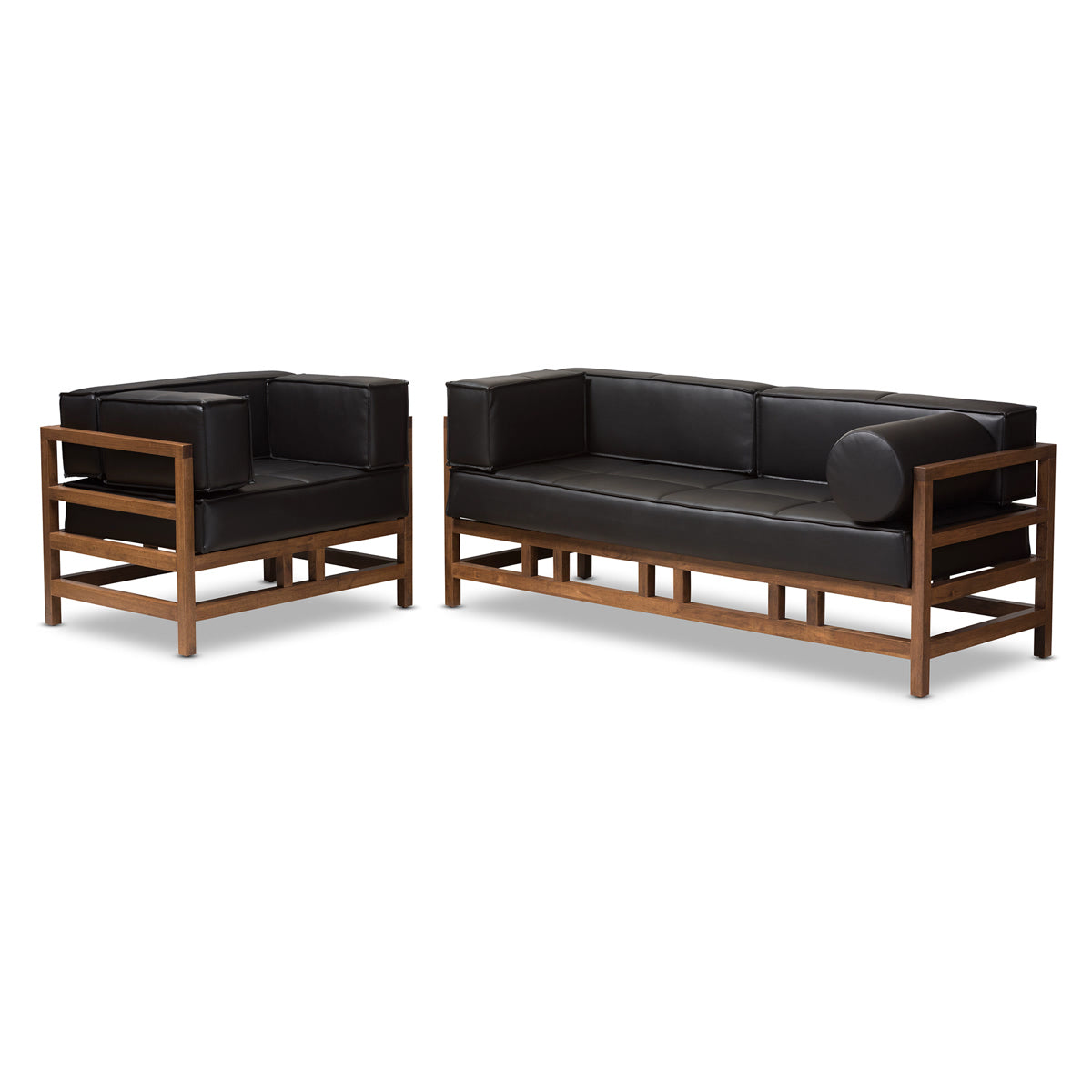 Baxton Studio Shaw Mid-Century Modern Pine Black Faux Leather Walnut Wood 2-Piece Living Room Sofa Set Baxton Studio-0-Minimal And Modern - 1