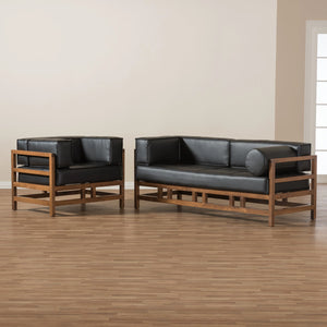 Baxton Studio Shaw Mid-Century Modern Pine Black Faux Leather Walnut Wood 2-Piece Living Room Sofa Set Baxton Studio-0-Minimal And Modern - 4