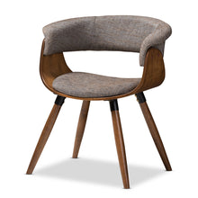 Baxton Studio Bryce Mid-Century Modern Grey Fabric Upholstered Walnut Finished Bent Wood Dining Chair Baxton Studio-dining chair-Minimal And Modern - 1