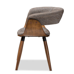 Baxton Studio Bryce Mid-Century Modern Grey Fabric Upholstered Walnut Finished Bent Wood Dining Chair Baxton Studio-dining chair-Minimal And Modern - 3