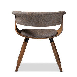 Baxton Studio Bryce Mid-Century Modern Grey Fabric Upholstered Walnut Finished Bent Wood Dining Chair Baxton Studio-dining chair-Minimal And Modern - 4