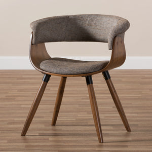 Baxton Studio Bryce Mid-Century Modern Grey Fabric Upholstered Walnut Finished Bent Wood Dining Chair Baxton Studio-dining chair-Minimal And Modern - 8