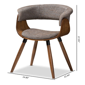 Baxton Studio Bryce Mid-Century Modern Grey Fabric Upholstered Walnut Finished Bent Wood Dining Chair Baxton Studio-dining chair-Minimal And Modern - 9