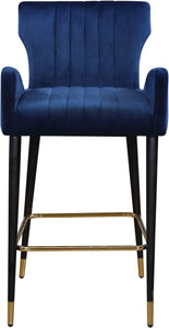 Meridian Furniture Luxe Navy Velvet Stool - Set of 2