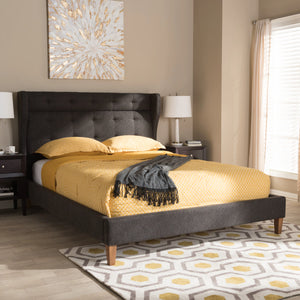 Baxton Studio Casper Mid-Century Modern Charcoal Grey Fabric Upholstered Queen Size Platform Bed Baxton Studio-beds-Minimal And Modern - 7