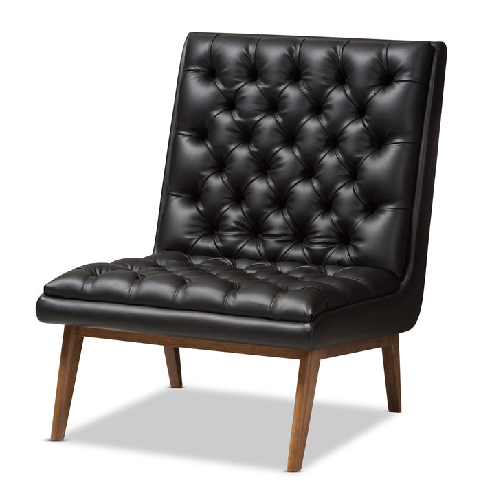 Baxton Studio Annetha Mid-Century Modern Black Faux Leather Upholstered Walnut Finished Wood Lounge Chair Baxton Studio-chairs-Minimal And Modern - 1