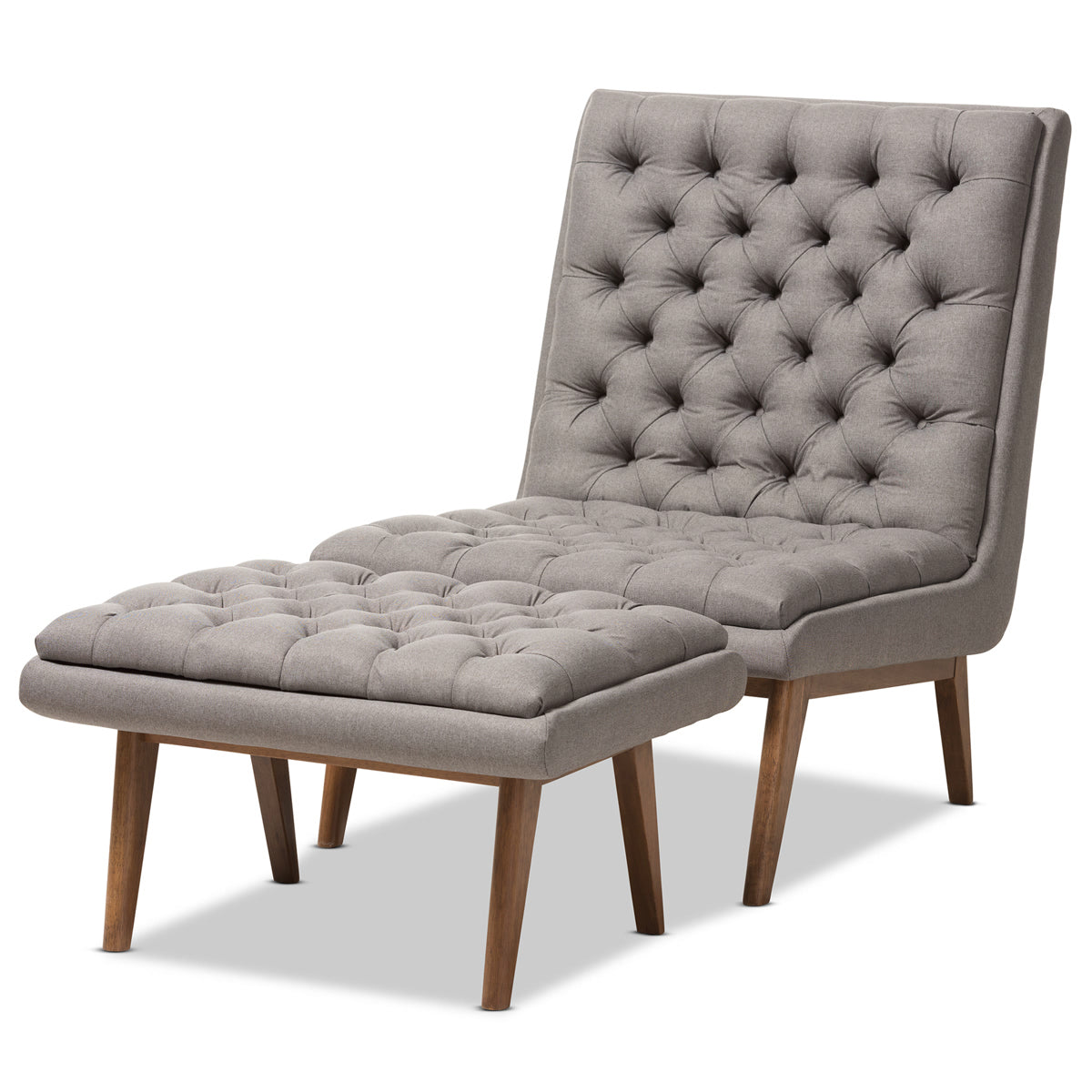 Baxton Studio Annetha Mid-Century Modern Grey Fabric Upholstered Walnut Finished Wood Chair And Ottoman Set Baxton Studio-0-Minimal And Modern - 1