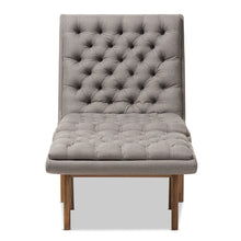 Baxton Studio Annetha Mid-Century Modern Grey Fabric Upholstered Walnut Finished Wood Chair And Ottoman Set Baxton Studio-0-Minimal And Modern - 2