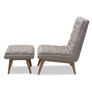 Baxton Studio Annetha Mid-Century Modern Grey Fabric Upholstered Walnut Finished Wood Chair And Ottoman Set Baxton Studio-0-Minimal And Modern - 3