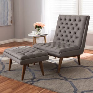 Baxton Studio Annetha Mid-Century Modern Grey Fabric Upholstered Walnut Finished Wood Chair And Ottoman Set Baxton Studio-0-Minimal And Modern - 7
