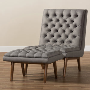Baxton Studio Annetha Mid-Century Modern Grey Fabric Upholstered Walnut Finished Wood Chair And Ottoman Set Baxton Studio-0-Minimal And Modern - 8