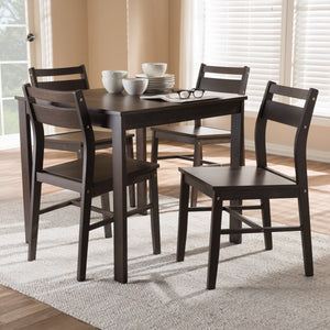 Baxton Studio Lovy Modern and Contemporary Walnut-Finished 5-Piece Dining Set Baxton Studio-0-Minimal And Modern - 4