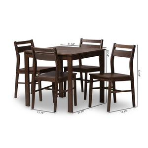 Baxton Studio Lovy Modern and Contemporary Walnut-Finished 5-Piece Dining Set Baxton Studio-0-Minimal And Modern - 6