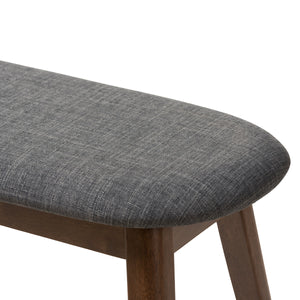 Baxton Studio Easton Mid-Century Modern Dark Grey Fabric Upholstered Walnut Finished Wood Bench Baxton Studio-benches-Minimal And Modern - 5