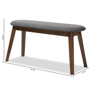 Baxton Studio Easton Mid-Century Modern Dark Grey Fabric Upholstered Walnut Finished Wood Bench Baxton Studio-benches-Minimal And Modern - 8