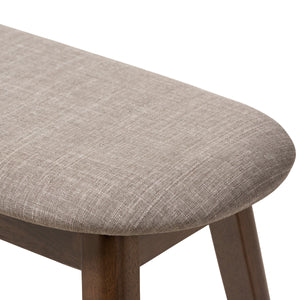 Baxton Studio Easton Mid-Century Modern Light Grey Fabric Upholstered Walnut Finished Wood Bench Baxton Studio-benches-Minimal And Modern - 5