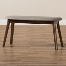 Baxton Studio Easton Mid-Century Modern Light Grey Fabric Upholstered Walnut Finished Wood Bench Baxton Studio-benches-Minimal And Modern - 7