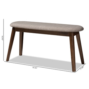 Baxton Studio Easton Mid-Century Modern Light Grey Fabric Upholstered Walnut Finished Wood Bench Baxton Studio-benches-Minimal And Modern - 8