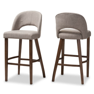 Baxton Studio Melrose Mid-Century Modern Light Grey Fabric Upholstered Walnut Finished Wood Bar Stool (Set of 2) Baxton Studio-Bar Stools-Minimal And Modern - 1