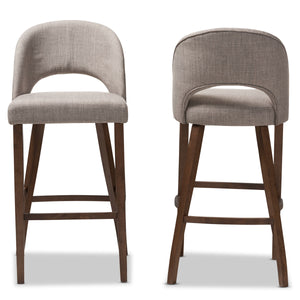 Baxton Studio Melrose Mid-Century Modern Light Grey Fabric Upholstered Walnut Finished Wood Bar Stool (Set of 2) Baxton Studio-Bar Stools-Minimal And Modern - 2