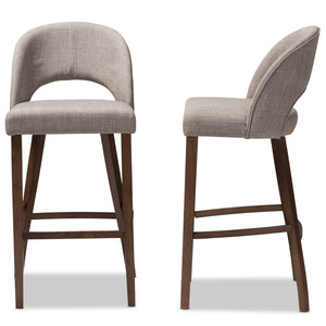 Baxton Studio Melrose Mid-Century Modern Light Grey Fabric Upholstered Walnut Finished Wood Bar Stool (Set of 2) Baxton Studio-Bar Stools-Minimal And Modern - 3