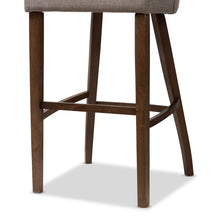 Baxton Studio Melrose Mid-Century Modern Light Grey Fabric Upholstered Walnut Finished Wood Bar Stool (Set of 2) Baxton Studio-Bar Stools-Minimal And Modern - 5