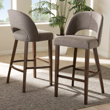 Baxton Studio Melrose Mid-Century Modern Light Grey Fabric Upholstered Walnut Finished Wood Bar Stool (Set of 2) Baxton Studio-Bar Stools-Minimal And Modern - 6