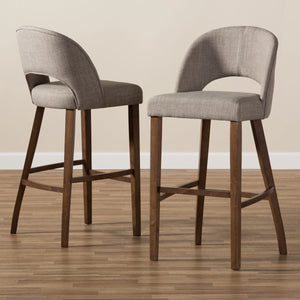 Baxton Studio Melrose Mid-Century Modern Light Grey Fabric Upholstered Walnut Finished Wood Bar Stool (Set of 2) Baxton Studio-Bar Stools-Minimal And Modern - 7