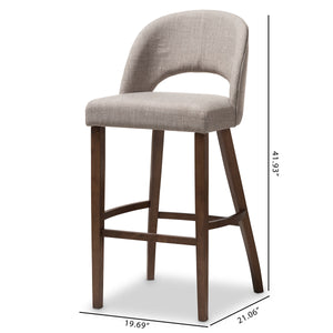 Baxton Studio Melrose Mid-Century Modern Light Grey Fabric Upholstered Walnut Finished Wood Bar Stool (Set of 2) Baxton Studio-Bar Stools-Minimal And Modern - 8