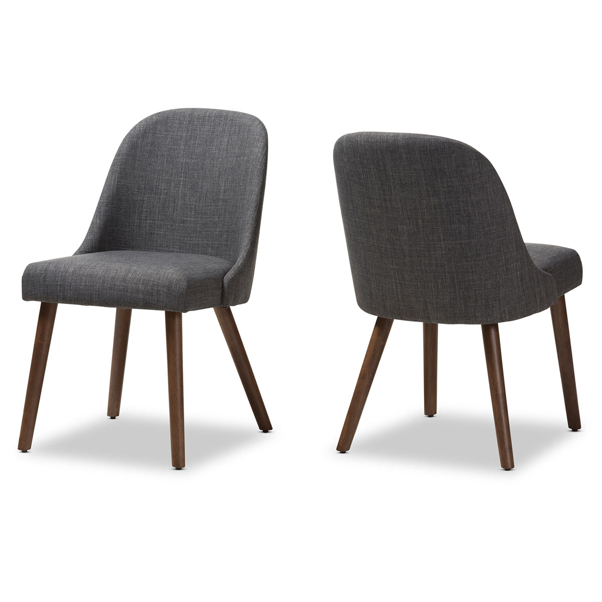 Baxton Studio Cody Mid-Century Modern Dark Grey Fabric Upholstered Walnut Finished Wood Dining Chair (Set of 2) Baxton Studio-dining chair-Minimal And Modern - 1