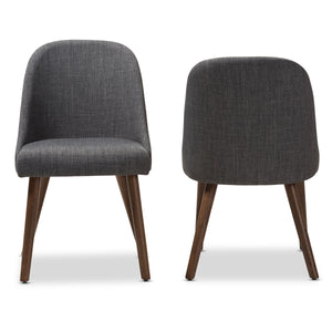 Baxton Studio Cody Mid-Century Modern Dark Grey Fabric Upholstered Walnut Finished Wood Dining Chair (Set of 2) Baxton Studio-dining chair-Minimal And Modern - 2