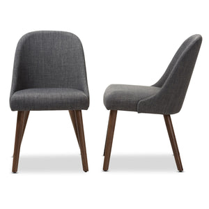 Baxton Studio Cody Mid-Century Modern Dark Grey Fabric Upholstered Walnut Finished Wood Dining Chair (Set of 2) Baxton Studio-dining chair-Minimal And Modern - 3