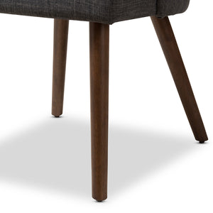 Baxton Studio Cody Mid-Century Modern Dark Grey Fabric Upholstered Walnut Finished Wood Dining Chair (Set of 2) Baxton Studio-dining chair-Minimal And Modern - 5