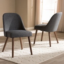 Baxton Studio Cody Mid-Century Modern Dark Grey Fabric Upholstered Walnut Finished Wood Dining Chair (Set of 2) Baxton Studio-dining chair-Minimal And Modern - 6