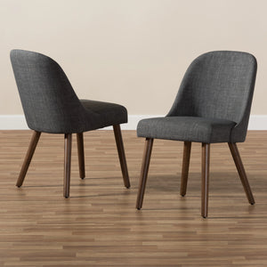 Baxton Studio Cody Mid-Century Modern Dark Grey Fabric Upholstered Walnut Finished Wood Dining Chair (Set of 2) Baxton Studio-dining chair-Minimal And Modern - 7
