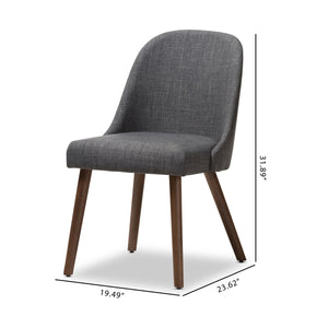 Baxton Studio Cody Mid-Century Modern Dark Grey Fabric Upholstered Walnut Finished Wood Dining Chair (Set of 2) Baxton Studio-dining chair-Minimal And Modern - 8