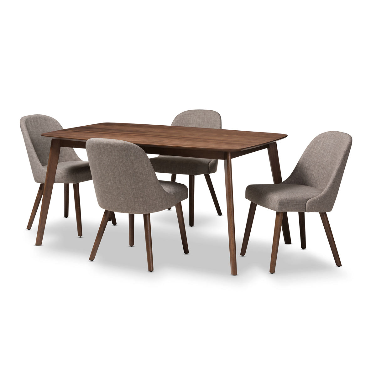 Baxton Studio Cody Mid-Century Modern Light Grey Fabric Upholstered Walnut Finished Wood 5-Piece Dining Set Baxton Studio-0-Minimal And Modern - 1