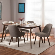 Baxton Studio Cody Mid-Century Modern Light Grey Fabric Upholstered Walnut Finished Wood 5-Piece Dining Set Baxton Studio-0-Minimal And Modern - 4